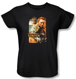 The Adventures Of Tintin Ladies T-Shirt � Adventure Poster Black Shirt