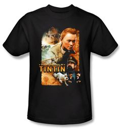 The Adventures Of Tintin T-Shirt � Adventure Poster Black Adult Shirt