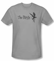 The Birds Slim Fit T-shirt Movie Distressed Logo Adult Silver Shirt