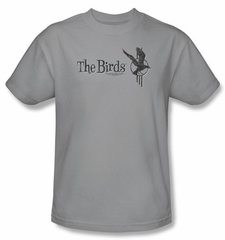 The Birds T-shirt Movie Distressed Logo Adult Silver Tee Shirt