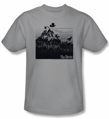The Birds T-shirt Movie Evil Adult Silver Tee Shirt