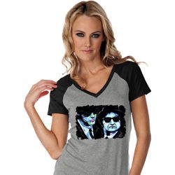 The Blues Brothers Profiles Ladies Contrast V-Neck Shirt