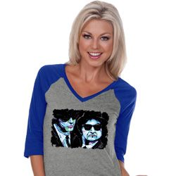 The Blues Brothers Profiles Ladies Three Quarter Sleeve V-Neck Shirt