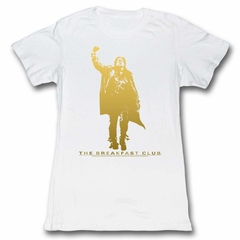 The Breakfast Club Shirt Juniors Gold Fist Pump White T-Shirt