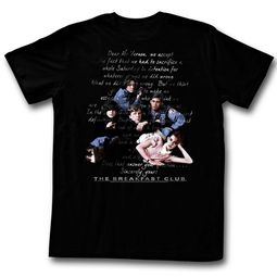 The Breakfast Club Shirt Letter Overlay Black T-Shirt