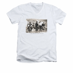 The Breakfast Club Shirt Slim Fit V Neck Club Mugs White Tee T-Shirt