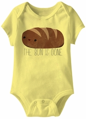 The Bun Is Done Funny Baby Romper Yellow Infant Babies Creeper