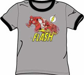 The Flash T-shirt - The Crimson Comet Gray/Black Adult Ringer Tee
