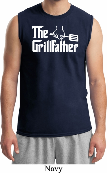 e5d47835a39 The Grillfather White Print Mens Muscle Shirt - The Grillfather ...