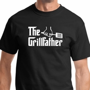 The Grillfather White Print Mens Shirts