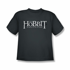 The Hobbit Battle Of The Five Armies Shirt Kids Ornate Logo Charcoal Youth Tee T-Shirt