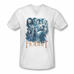 The Hobbit Battle Of The Five Armies Shirt Slim Fit V Neck Main Characters White Tee T-Shirt