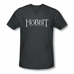 The Hobbit Battle Of The Five Armies Shirt Slim Fit V Neck Ornate Logo Charcoal Tee T-Shirt