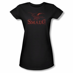 The Hobbit Desolation Of Smaug Shirt Juniors Dragon Black Tee T-Shirt