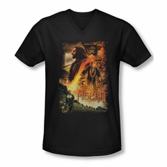 The Hobbit Desolation Of Smaug Shirt Slim Fit V Neck Golden Chambers Black Tee T-Shirt