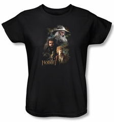 The Hobbit Ladies Shirt Movie Unexpected Journey Painting Black Tee