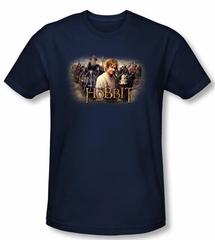 The Hobbit Shirt Movie Unexpected Journey Rally Navy Slim Fit T-Shirt