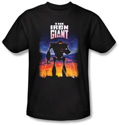 The Iron Giant T-Shirt Movie Robot Poster Adult Black Tee Shirt