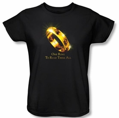 The Lord Of The Rings Ladies T-Shirt One Ring Black Tee Shirt
