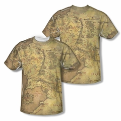 The Lord Of The Rings Middle Earth Map Sublimation Shirt Front/Back Print