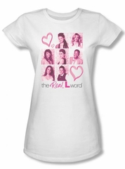 The Real L Word Juniors Shirt Hearts White T-shirt Tee