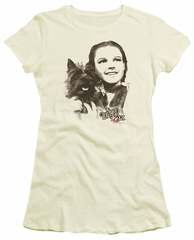 The Wizard Of Oz  Juniors Shirt Dorothy And Toto Cream T-Shirt