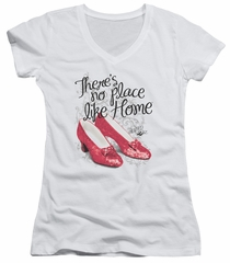The Wizard Of Oz  Juniors V Neck Shirt Red Ruby Slippers White T-Shirt