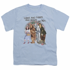 The Wizard Of Oz  Kids Shirt Lions and Tigers and Bears Oh My! Light Blue T-Shirt