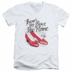 The Wizard Of Oz  Slim Fit V-Neck Shirt Red Ruby Slippers White T-Shirt