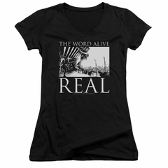 The Word Alive Juniors V Neck Shirt Real Black T-Shirt