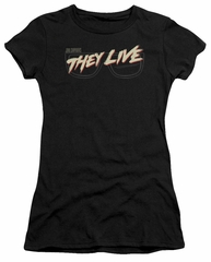 They Live  Juniors Shirt Glasses Logo Black T-Shirt