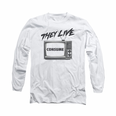 They Live Shirt Consume Long Sleeve White Tee T-Shirt