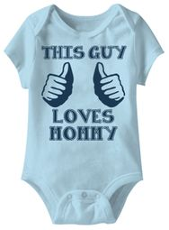 This Guy Loves Mommy Funny Baby Romper Blue Infant Babies Creeper