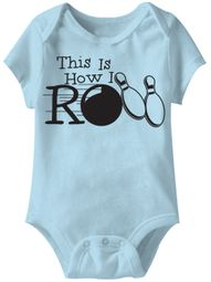 This Is How I Roll Bowling Funny Baby Romper Blue Infant Babies Creeper