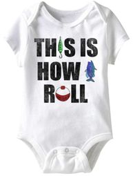 This Is How I Roll Fishing Funny Baby Romper White Infant Babies Creeper