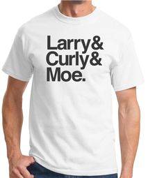 Three Stooges Adult Tee - Larry & Curly & Moe White Shirt