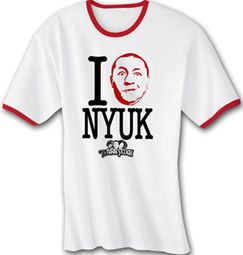 Three Stooges Ringer T-shirt I Love NYUK Curly Adult Funny Tee Shirt