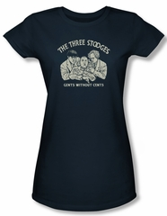 Three Stooges Shirt Juniors Without Cents Navy Tee T-Shirt