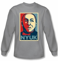 Three Stooges Shirt NYUK Funny Adult Silver Long Sleeve T-Shirt