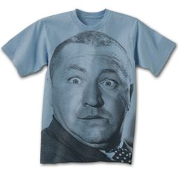 Three Stooges T-shirt Curly Big Face Adult Funny Blue Tee Shirt