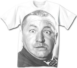 Three Stooges T-shirt Curly Big Face Adult Funny White Tee Shirt