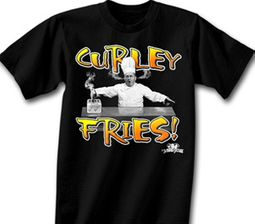 Three Stooges T-shirt Curly Fries Adult Funny Black Tee Shirt