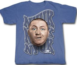 Three Stooges T-shirt Curly NYUK NYUK NYUK Adult Funny Blue Tee Shirt