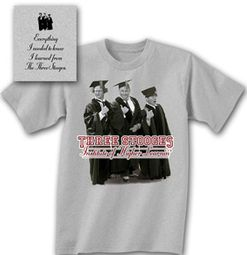 Three Stooges T-shirt Funny Higher Learning Adult Gray Tee Shirt