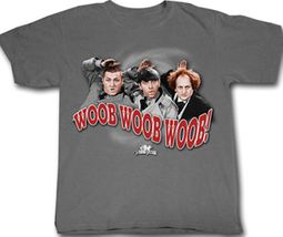 Three Stooges T-shirt Funny Woob Woob Woob Adult Grey Tee Shirt