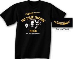 Three Stooges T-shirt Knucklehead Brewing Company Black Tee Shirt