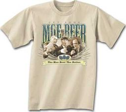 Three Stooges T-shirt Moe Beer Adult Funny Natural Tee Shirt