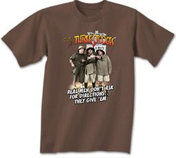 Three Stooges T-shirt Real Men Adult Funny Brown Tee Shirt