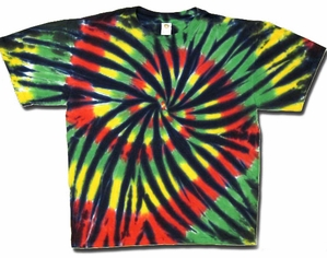 Tie Dye T-shirt - Rasta Pinwheel Stained Glass Tee