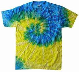 Tie Dye T-shirt Spiral Blue Yellow Retro Vintage Adult Tee Shirt